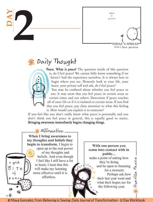 Sample Pages from Believing is Seeing: Daily Journal of Transformation - 31 Day Workbook by Maya Gonzalez