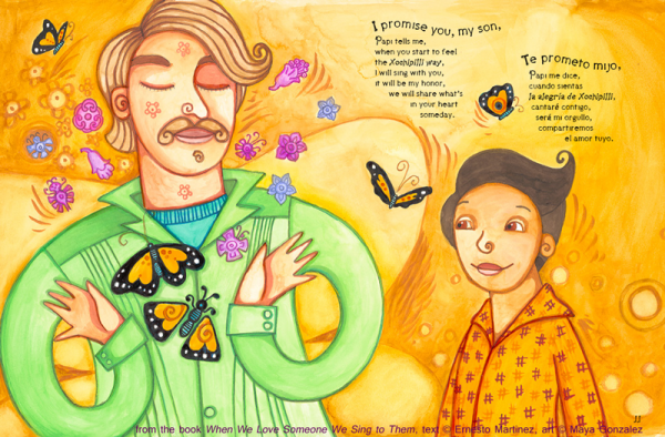interior spread from When We Love Someone We Sing to Them/Cuando Amamos Cantamos written by Ernesto Javier Martinez, illustrated by Maya Gonzalez