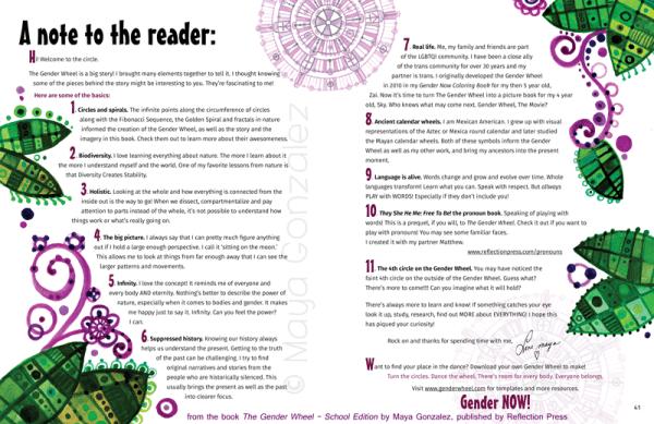 Sample Spread from The Gender Wheel - School Edition by Maya Gonzalez