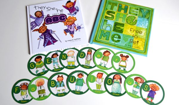 The card deck is based on our children's book on pronouns