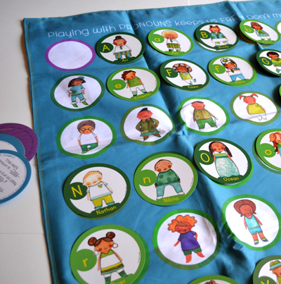 Playing with Pronouns double-sided play mat
