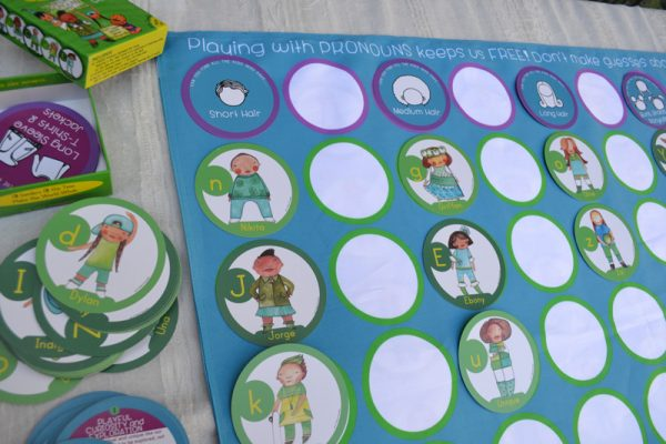 Playing with Pronouns Double-sided Playmat - Back for Sorting, Organizing & Memory Games